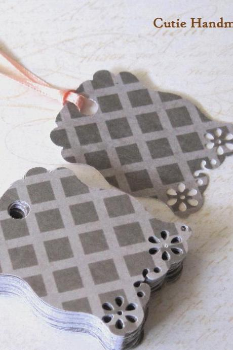 36 Grey Diamond Scalloped Gift Tags