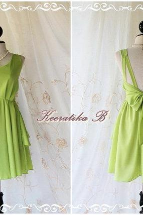 A Party V Shape - Prom Party Cocktail Bridesmaid Dinner Wedding Dress Asymmetric Hem Fresh Lemon Green Gorgeous Glamorous Dress