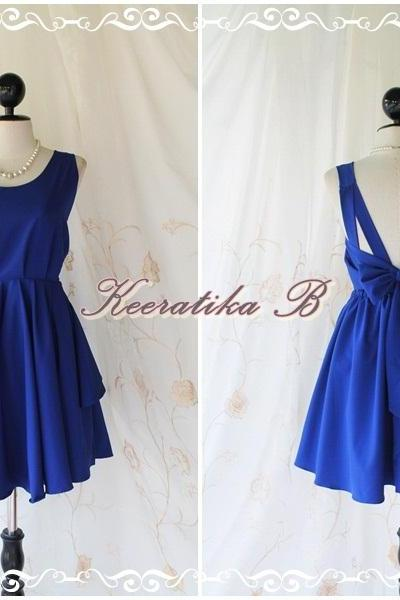 A Party V Shape - Prom Party Cocktail Bridesmaid Dinner Wedding Night Dress Asymmetric Hem Fresh Royal Blue Sweet Gorgeous Glamorous Dress