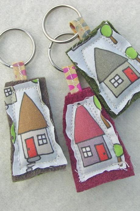 Plush Keychains - Spoonflower Fabric - House Keyrings - Wholesale Bulk Listing - Ten For 30 Dollars - Mixed Batch - Made To Order