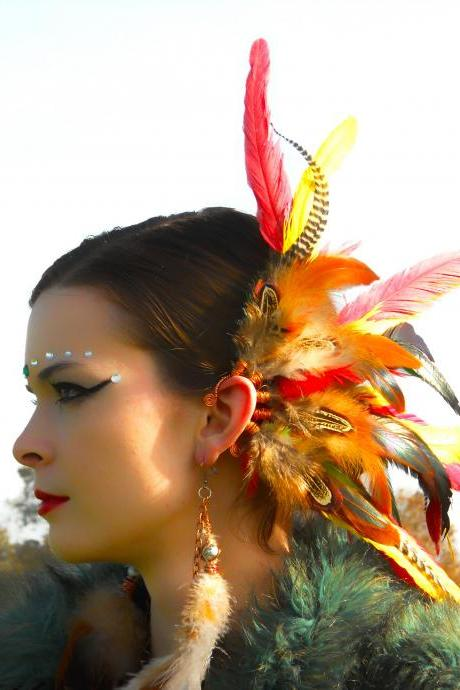 Spiritual.Aura Meanings : Copper Wire - Red/Yellow/Grizzly Rooster Feathers Ear Cuff **FREE SHIPPING**