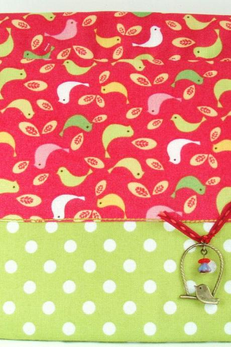 Pink and green birds purse - flexible opening - exclusive charm
