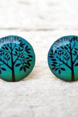 Teal Blue Tree Ear Studs, Small Ear Posts Earrings, Gift Bridesmaids (E4)