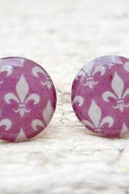 Purple White earrings studs posts, Awesome Cute Gift for her