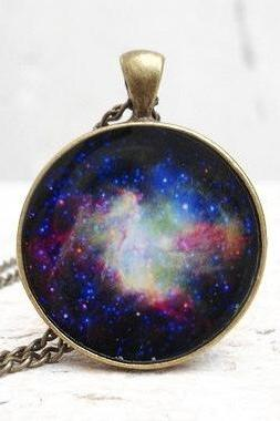 Galaxy Necklace Space Pendant, Nebula Blue Purple Green Black