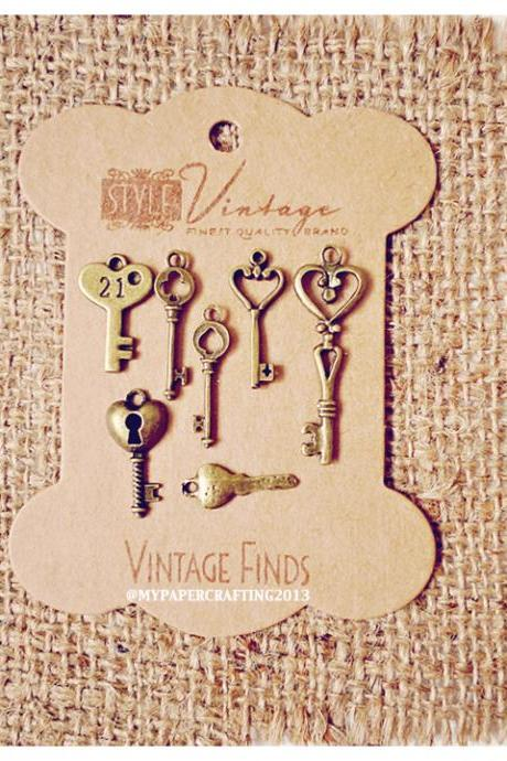 Mixed Key Brass Charm Metal Set 2