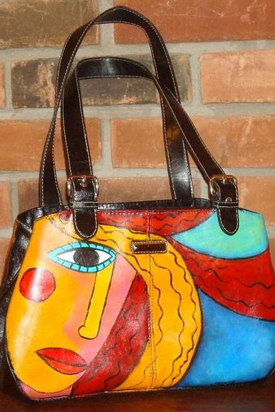 Hand Painted Handbag Purse Shoulder Bag Funky Abstract Portrait of Red Haired Woman