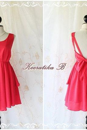 A Party V Shape - Prom Party Cocktail Bridesmaid Dinner Wedding Night Dress Hot Cerise Pink Toned Sweet Gorgeous Glamorous Dress