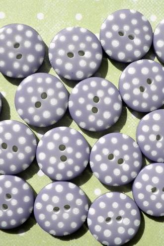 100x Small 12mm Purple Spotty Buttons