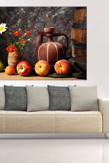 15x11 Digital printed Canvas folk still life to your wall, fruits, flowers and jug, rustic still life photo (size: 15x11 inch plus border).