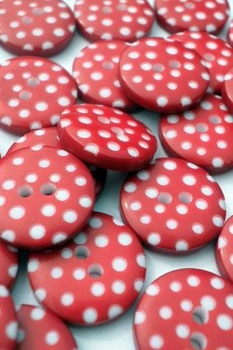 50x 12mm Christmas Red Spotty Buttons
