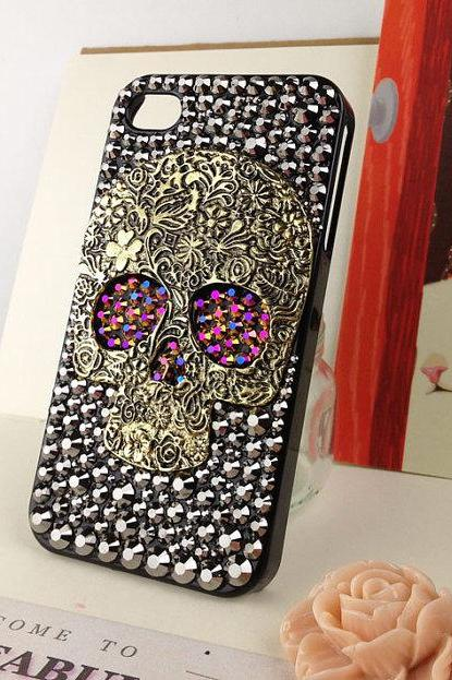 Skull Punk iPhone Case Crystals Skull Steam Punk Chameleon Gold / Purple Studded Eyes Handmade iPhone 5Case Studded Bling Rhinestone