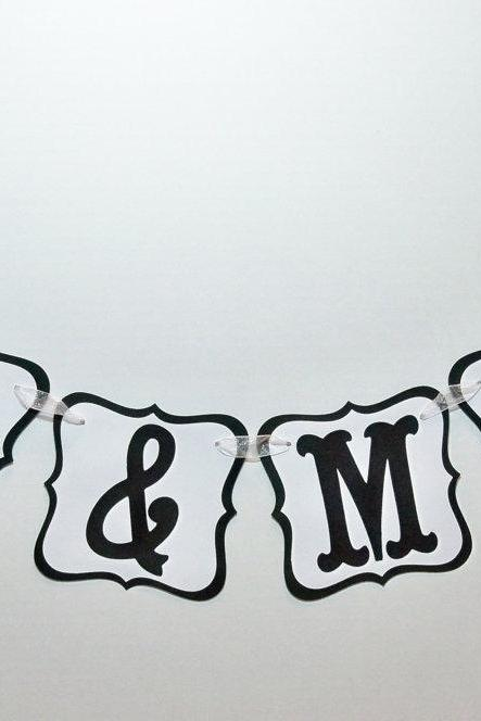 MR. & MRS. Banner/ Garland/ Black and White/ Photo Prop/ Can Custom Colors