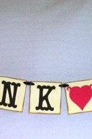 mini Thank You banner red heart/ wedding garland/ bunting/ photo prop/ may customize colors