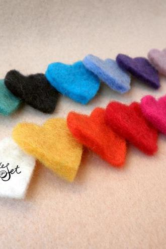 50x Multi Pack Mini Wool Felt Heart Shapes