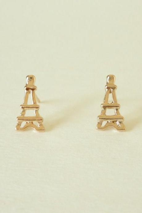 SALE - Little Eiffel Tower Rose Gold Stud Earrings - Gift under 10