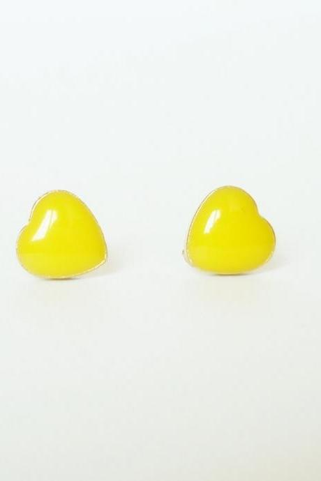 SALE - Lovely Yellow Heart Stud Earrings - Gift under 10