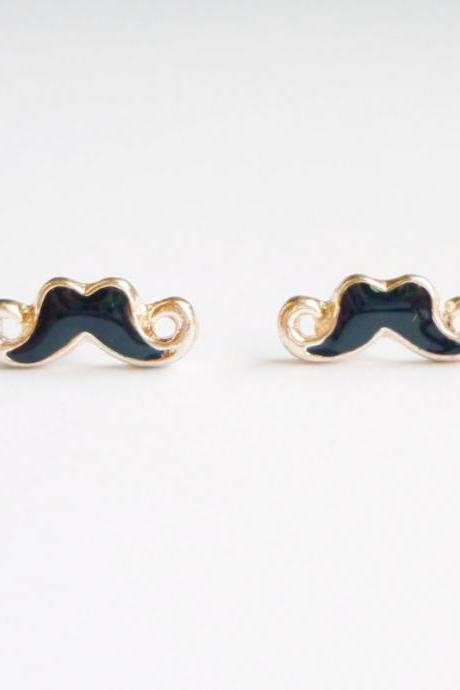 Small Sexy Black Mustache Stud Earrings - Gift under 15