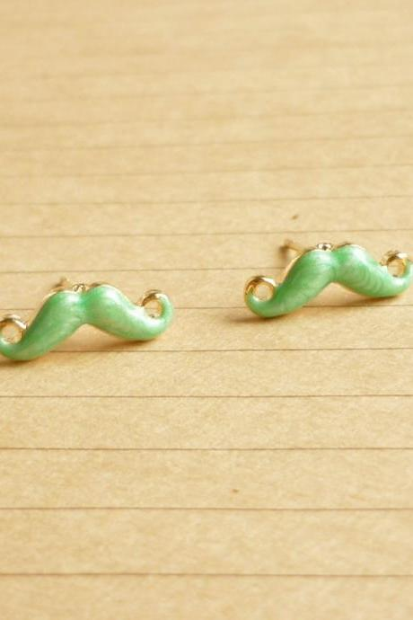 SALE - Tiny Green Mustache Post Earrings - 14 mm