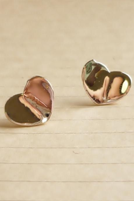 SALE - Heart Rose Gold Stud Earrings - Gift under 10