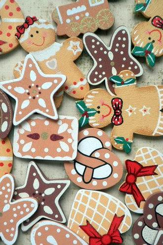 20x Gingerbread Man Wooden Mix