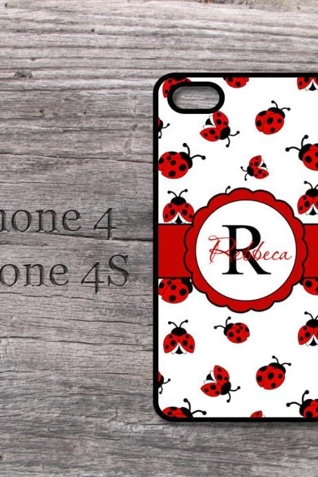 iPhone 4 4S personalized ladybug monogramed hard case cutes red lady bug i phone in case