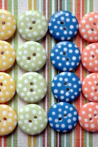 20x 12mm Garden Mix Spotty Buttons