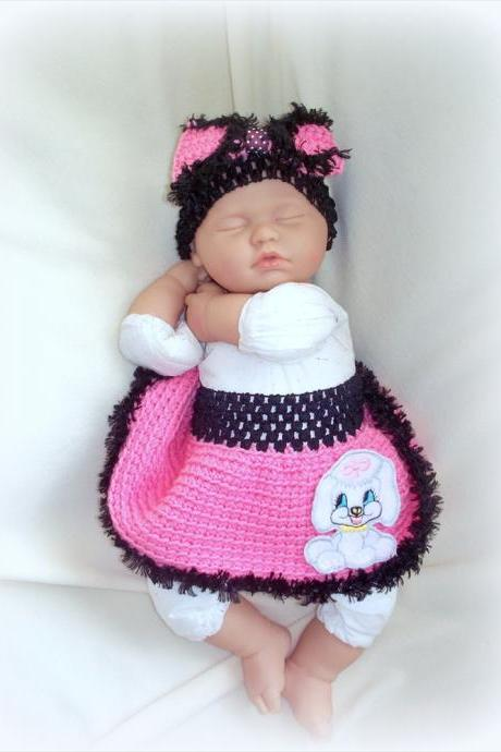 Poodle Skirt for newborn baby girl 0 to 6 months with matching bow headband