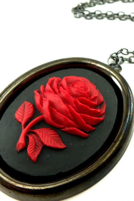 Large Rose Cameo Necklace Victorian Jewelry Red Rose Pendant Dark Silver Gothic Necklace Black Rose