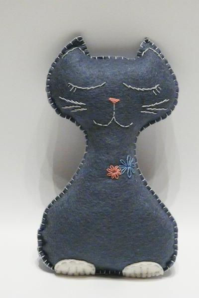 Grey felt cat Toy stuffed animal handmade Safe baby toys Children