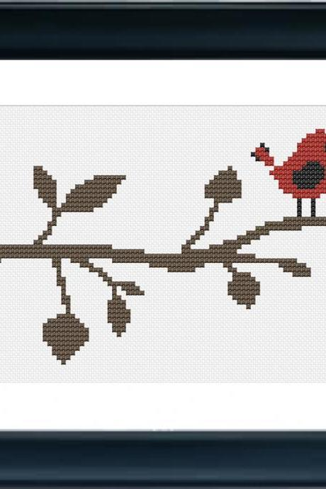 Red Bird Cross Stitch Pattern