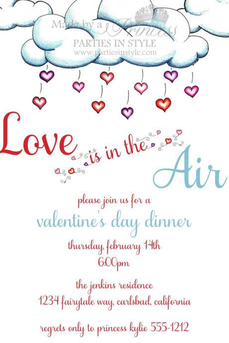 Love is in the Air Valentine's Day Printable Invitation