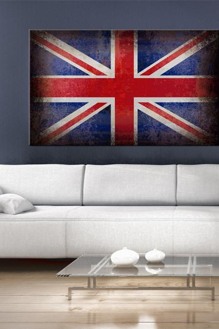 32x20 Digital printed old Canvas UK flag to your wall, Art old English flag (size: 32x20 inch plus border).