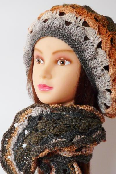 Crochet hat and scarf Lace gradient spring Boho soft set
