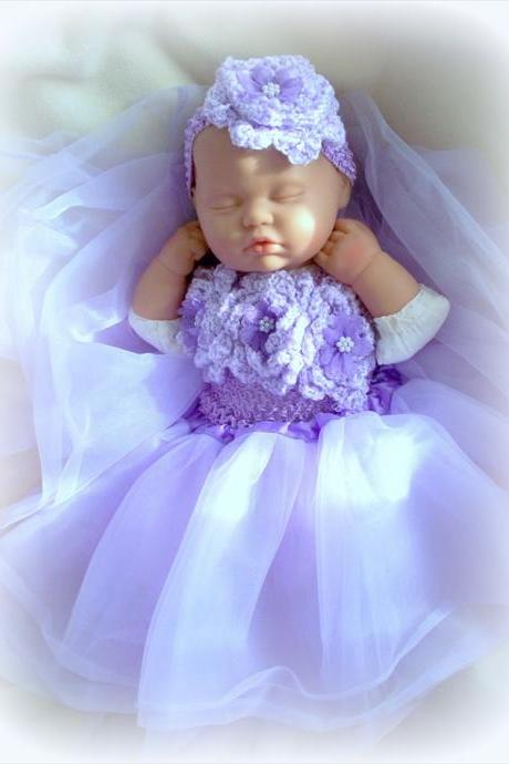 BABY GIRL PURPLE TUTU AND HEADBAND