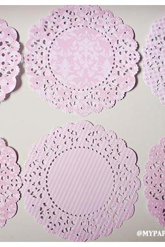 Parisian Lace Doily Sweet blush for Scrap booking or card making / pack