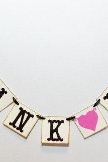 mini Thank You banner/weddomg garland/bunting/pink heart/wedding/ may customize colors