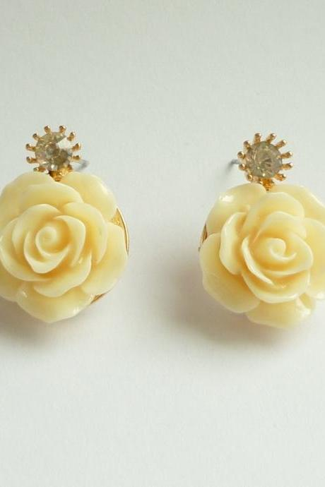 SALE - Large Cream/Off White Rose Earrings - Gift under 10