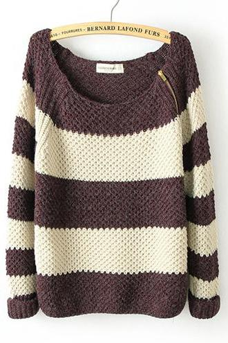 Coffee Shoulder Zip Classic Color Matching Striped Long Sleeve Sweater M