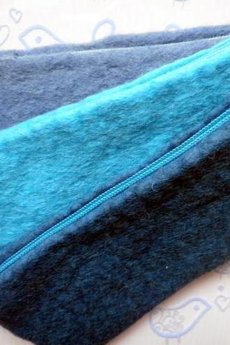 3x Blue Wool Felt Pencil Cases