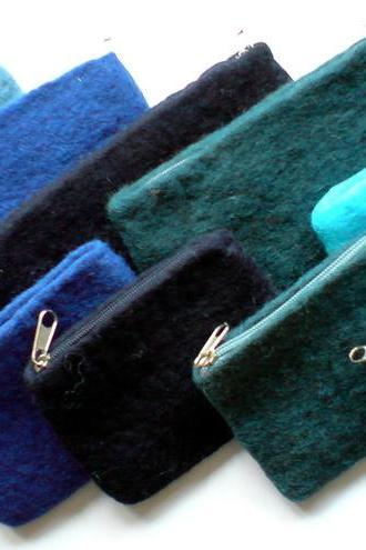 SET x10 Blue Felt Pencil Cases & Purses