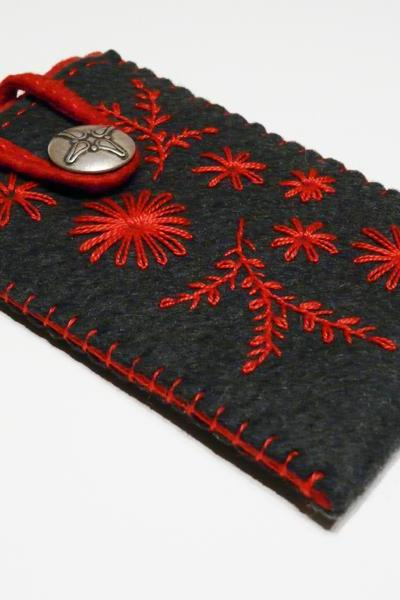 Felt iPhone case sleeve phone cover grey red emboidery