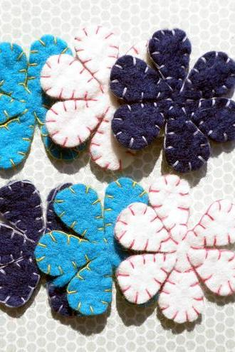 3x Multi Pack Wool Blue Felt Flower Petals