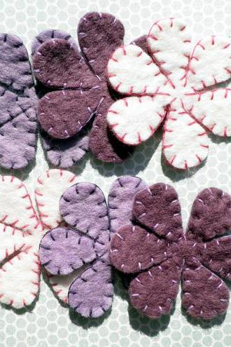 3x Multi Pack Wool Purple Felt Flower Petals