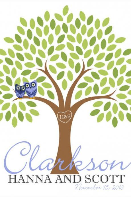 24x36 Wedding Signature Tree 200+ signatures -wedding guest book alternative tree poster