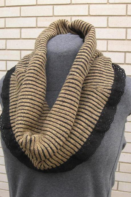Oversized Brown Tan Black Upcycled Women's Cowl Neck Warmer Circle Infinity Scarf with Black Crochet Lace Women's Winter Accessories
