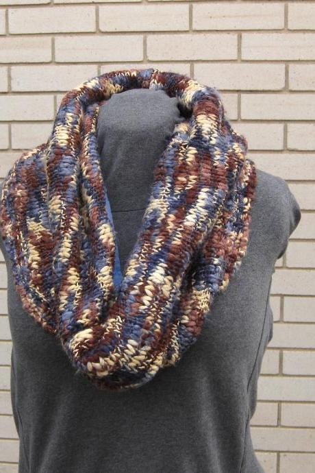 Oversized Sweater Cowl Neckwarmer Upcycled Brown Blue Cream Marbled Chunky Knit Eco Friendly Winter Fashion Accessory