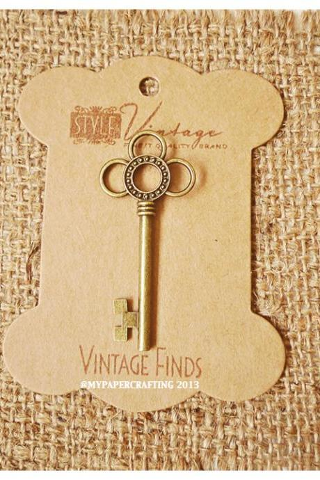 Flower Key Brass Charm Metal