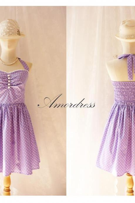 Purple Party Dress Vintage Inspired Party Tea Dress Bridesmaid Holiday Polka Dot Unique Handmade Dress SIZE S