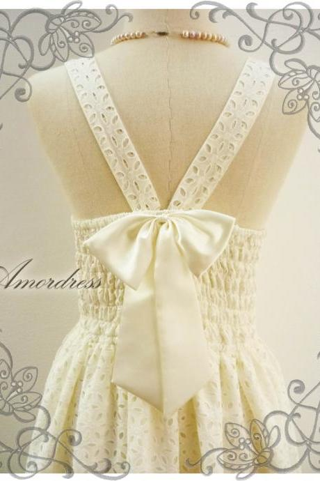 Lace Dress White Cream Sweetest Spell Party Reception Prom Party Bridesmaid Vintage Inspired Back Bow V Halter Pleated Skirt -Size S-M
